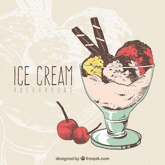 Fundo de ilustração do copo de sorvete