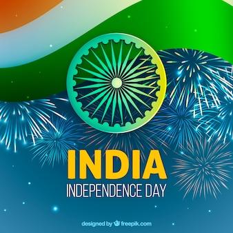 Fundo de independência da Índia com fogos de artifício
