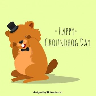 Fundo de lindo dia de groundhog com chapéu