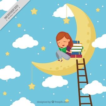 Fundo de livros de leitura da menina na lua