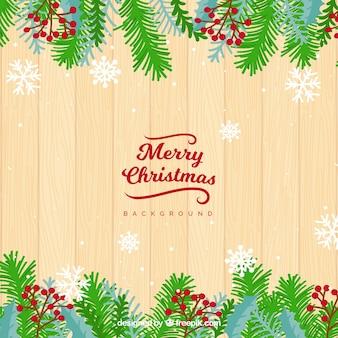 Fundo de madeira e decoração de natal
