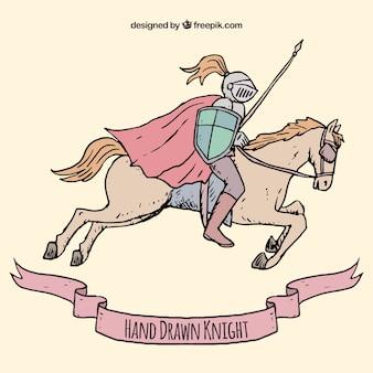Fundo de mão desenhada cavaleiro com cavalo