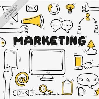 Fundo de marketing desenhada à mão com detalhes amarelos