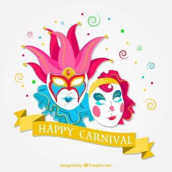 Fundo de máscaras do carnaval de Veneza