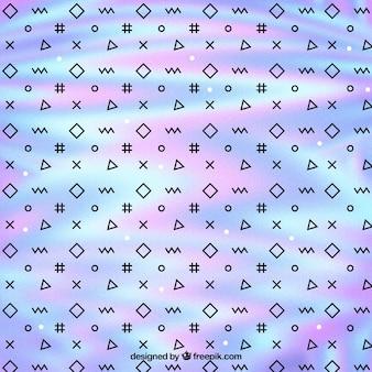 Fundo de memphis holográfica com formas geométricas