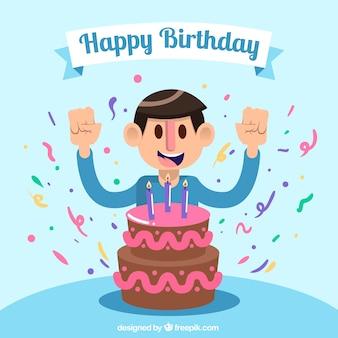 Fundo de menino com bolo de aniversário