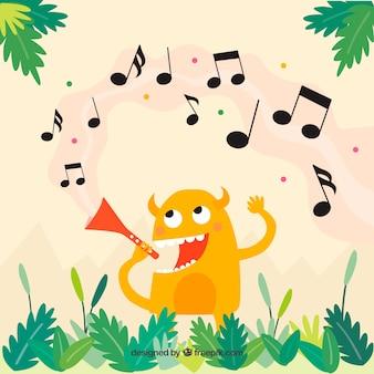 Fundo de monstro com notas musicais