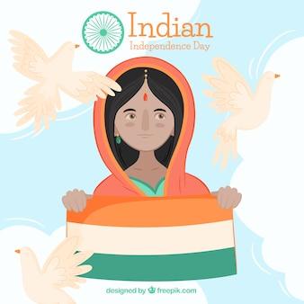 Fundo de mulher com bandeira da Índia e pombos