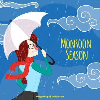 Fundo de mulher com guarda-chuva e lenço curtindo a chuva