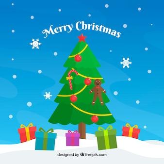 Fundo de Natal com árvore e presentes
