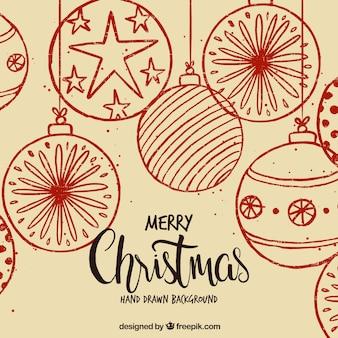 Fundo de Natal com bolas desenhadas à mão