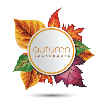 Fundo de outono com folhas de laranja, amarelo e verde de aquarela