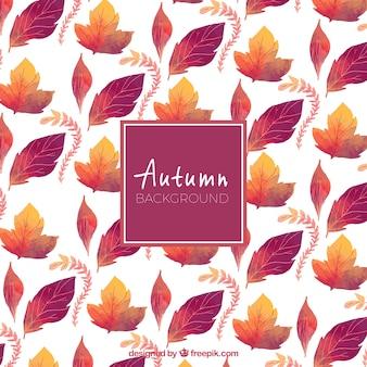 Fundo de outono com padrão de aquarela