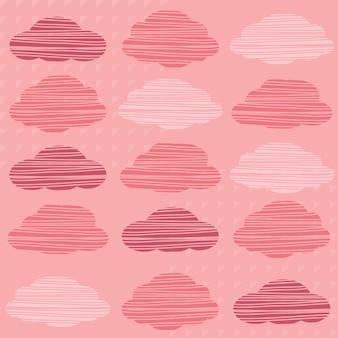 Fundo de padrão de nuvem rosa sem costura