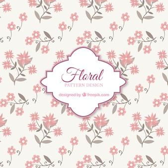Fundo de padrão floral rosa com design plano