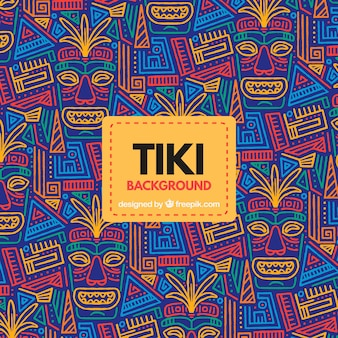 Fundo de padrão tropical com máscaras tribais