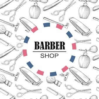 Fundo de padrões de elementos de barbeiro