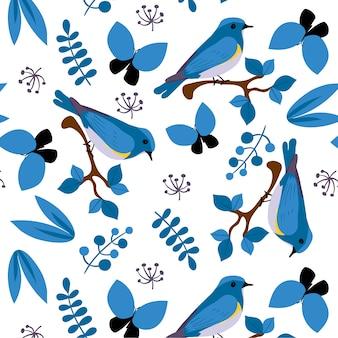 Fundo de padrões de pássaros azuis
