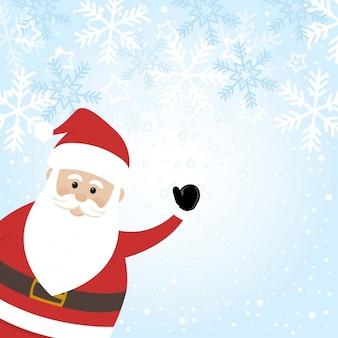 Fundo de Papai Noel com flocos de neve