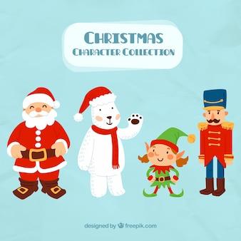 Fundo de Papai Noel com personagens adoráveis