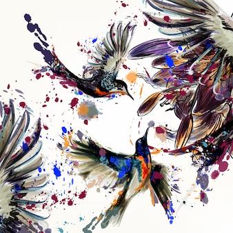 Fundo de pássaros bonitos com flores e salpicos de tinta ilustradas