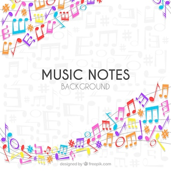 Fundo de pentagrama com notas musicais coloridas
