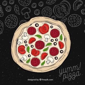 Fundo de pizza com ingredientes desenhados à mão
