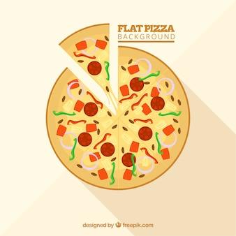 Fundo de pizza deliciosa em design plano