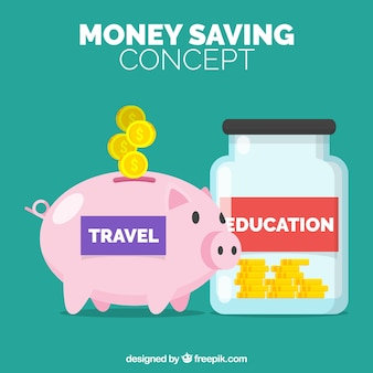 Fundo de poupança para viagens e educação