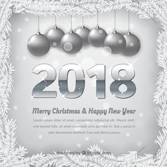 Fundo de prata de feliz natal e ano novo de 2018