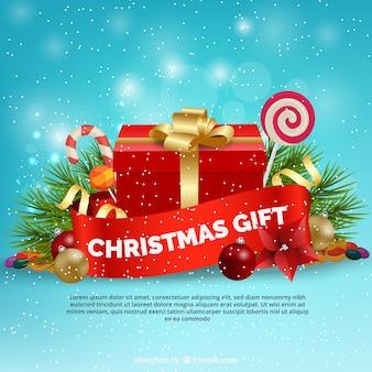 Fundo de presente de Natal com elementos decorativos