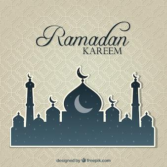 Fundo de Ramadan Kareem com mesquita