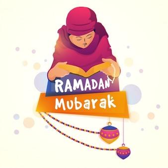 Fundo de Ramadan Mubarak com o homem que ora