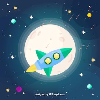 Fundo de Rocket e lua com estrelas em design plano