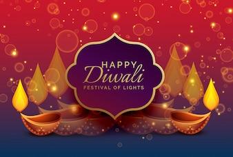 Fundo de saudação de diwali com diya e brilhos