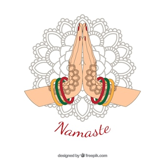 Fundo de saudação Namaste com mandala desenhada a mão