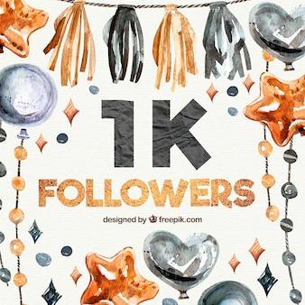 Fundo de seguidor de 1k com elementos decorativos de aquarela