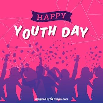 Fundo de silhuetas de pessoas que celebram o dia da juventude