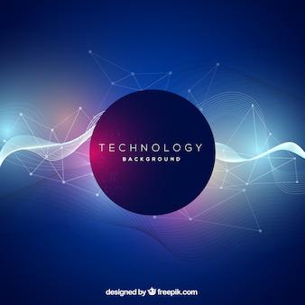 Fundo de tecnologia com ondas abstratas