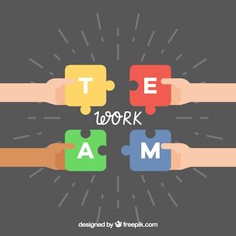 Fundo de trabalho em equipe com design de quebra-cabeça