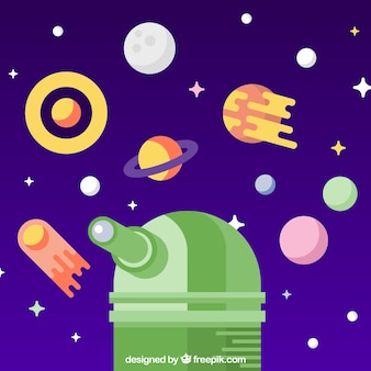Fundo de universo em design plano com planetas