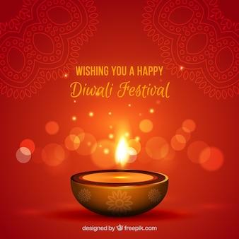 Fundo de vela de diwali avermelhado