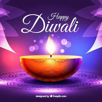 Fundo de vela de diwali roxo