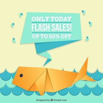 Fundo de venda com baleia de origami agradável