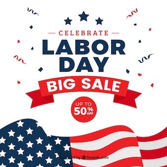 Fundo de venda com banner do dia do trabalho americano