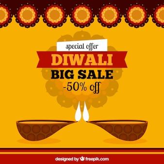 Fundo de venda de diwali amarelo