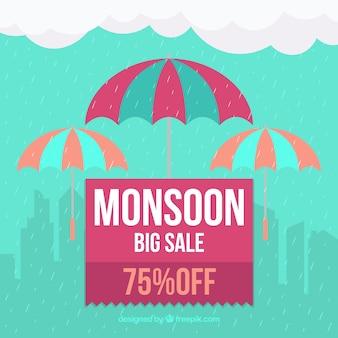 Fundo de venda de monção com guarda-chuva