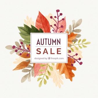 Fundo de venda de outono de aquarela
