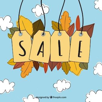 Fundo de venda de outono desenhado a mão com rótulos