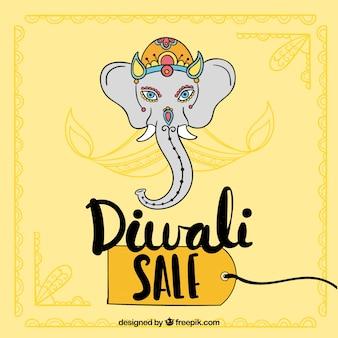 Fundo de venda Diwali com design de elefantes